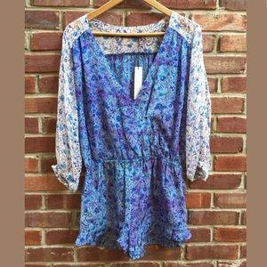 Gypsy 05 Romper SZ M Jumpsuit Floral Silk Blue NWT